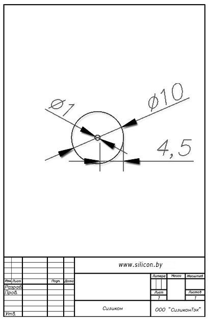 Трубка силиконовая ø10х1х4,5