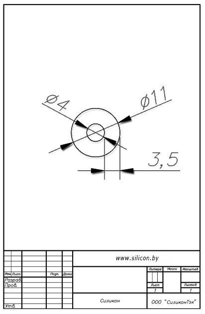 Трубка силиконовая ø11х4х3,5
