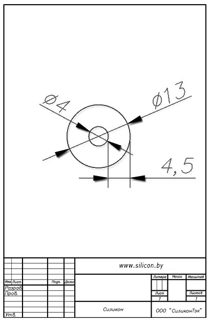 Трубка силиконовая ø13х4х4,5