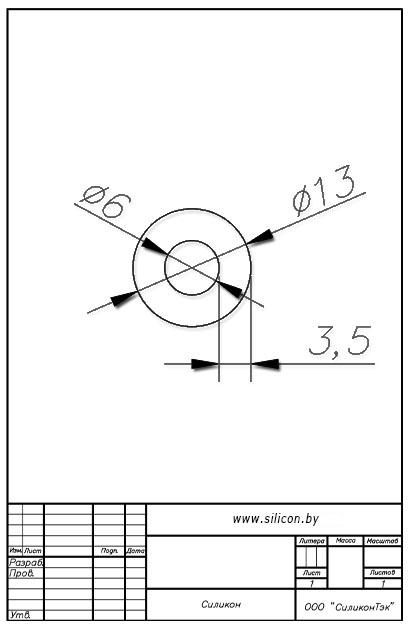 Трубка силиконовая ø13х6х3,5