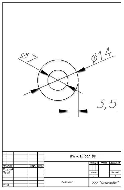 Трубка силиконовая ø14х7х3,5